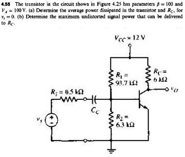 The transistor in the circuit shown has parameters