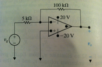The inverting amplifier in the circuit shown has a