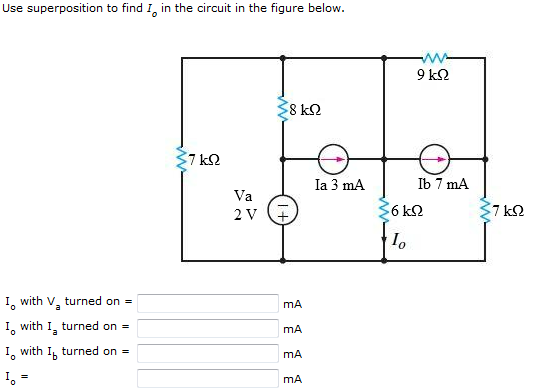 Use superposition to find Io in the circuit in the
