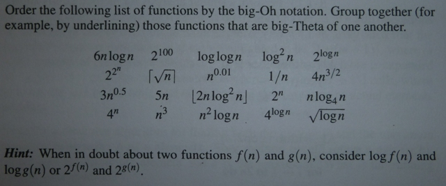 Order the following list of functions by the big-O