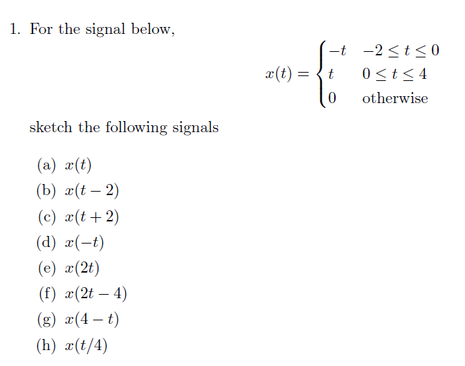 For the signal below, sketch the following signal