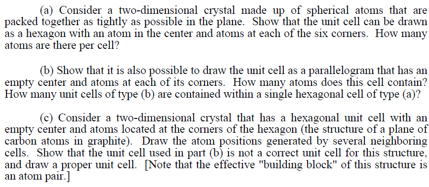 Consider a two-dimensional crystal made up of sphe