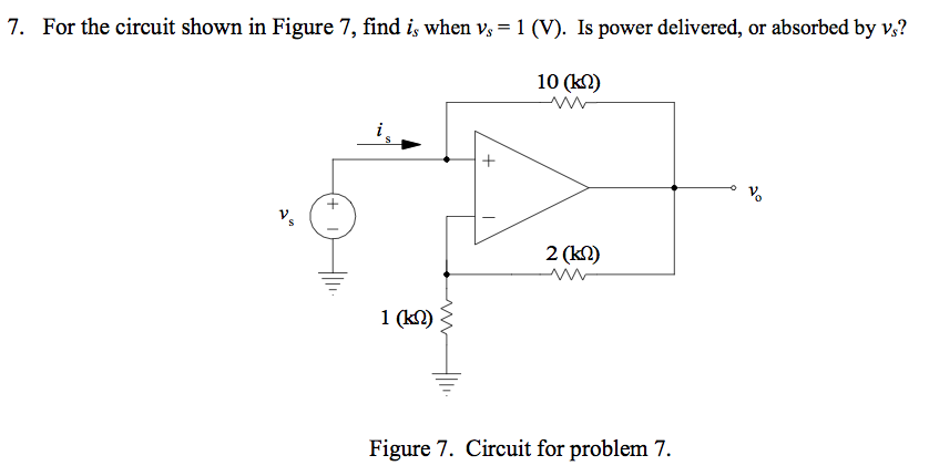 For the circuit shown in Figure 7, find is when vs