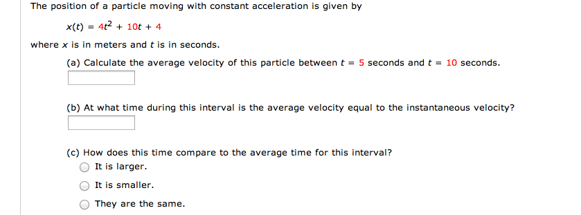 The position of a particle moving with constant ac