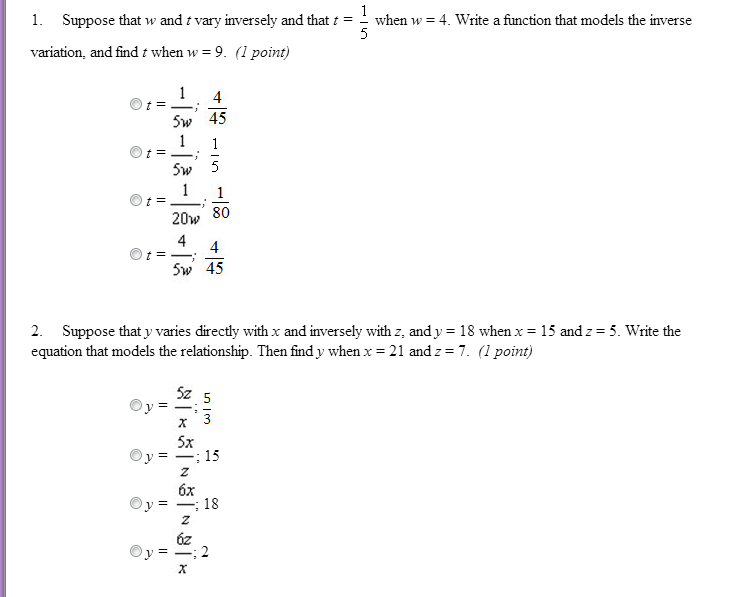 Suppose that w and t vary inversely and that t = 1