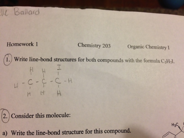 Write line-bond structures for both compounds with