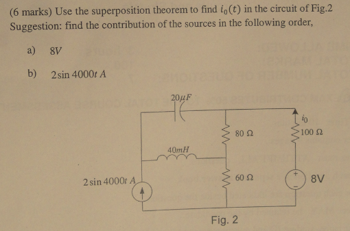 Use the superposition theorem to find i0(t) in the