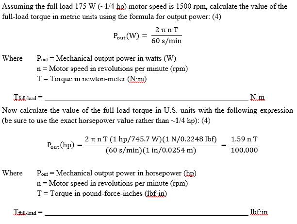 Solved assuming the full load 175 w 1 4 hp motor speed for Dc motor horsepower calculator