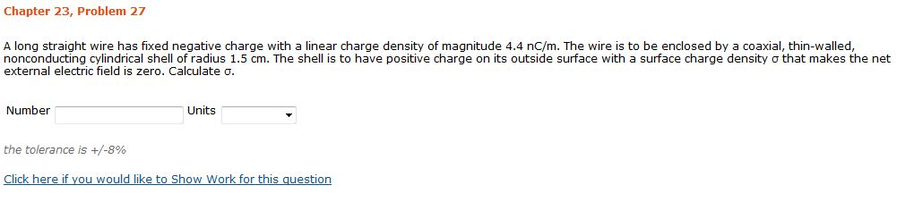 A long straight wire has fixed negative charge wit
