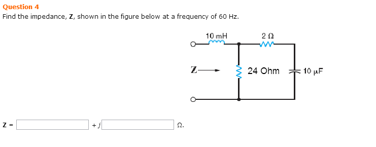 Find the impedance, Z, shown in the figure below a