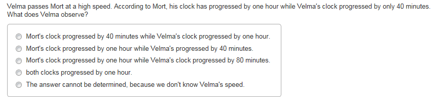 Velma passes Mort at a high speed. According to Mo