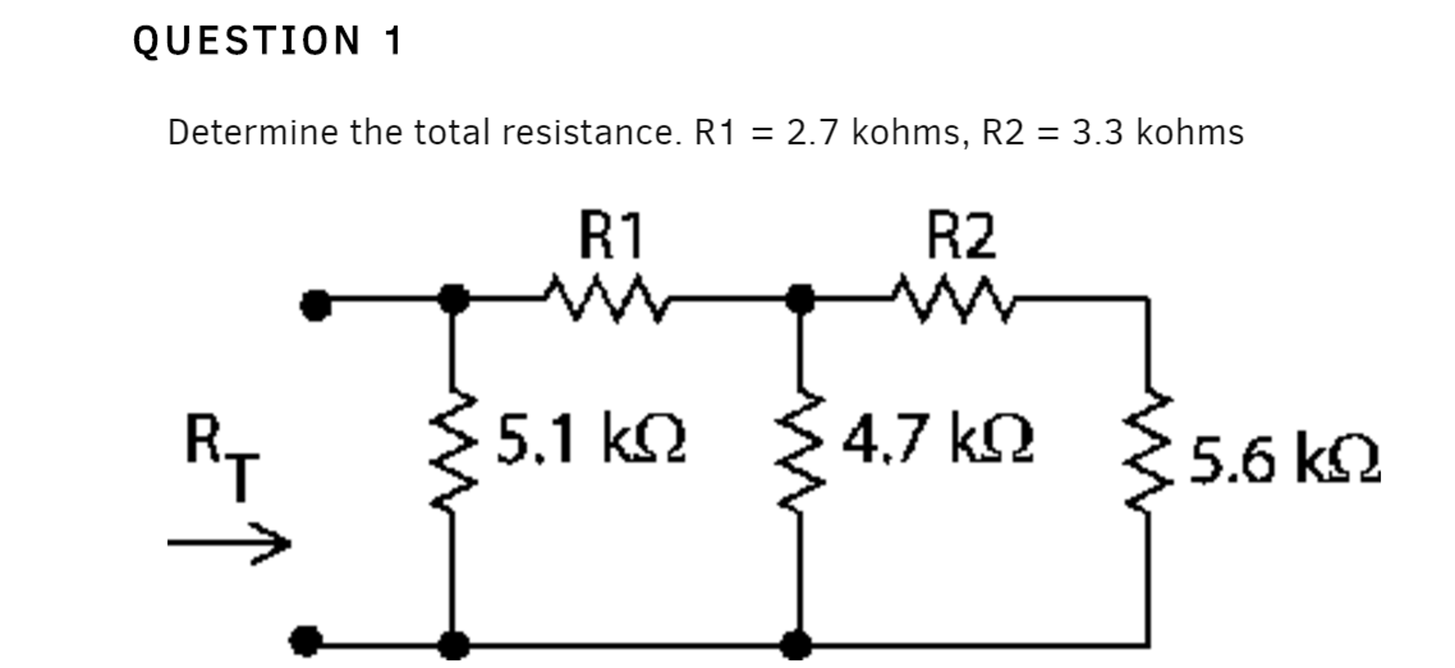 solved  determine the total resistance  r1   2 7 k ohms  r