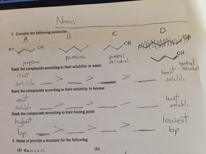 Rank The Following Compounds According To Their Boiling Point Pentane Chemistry Archi...