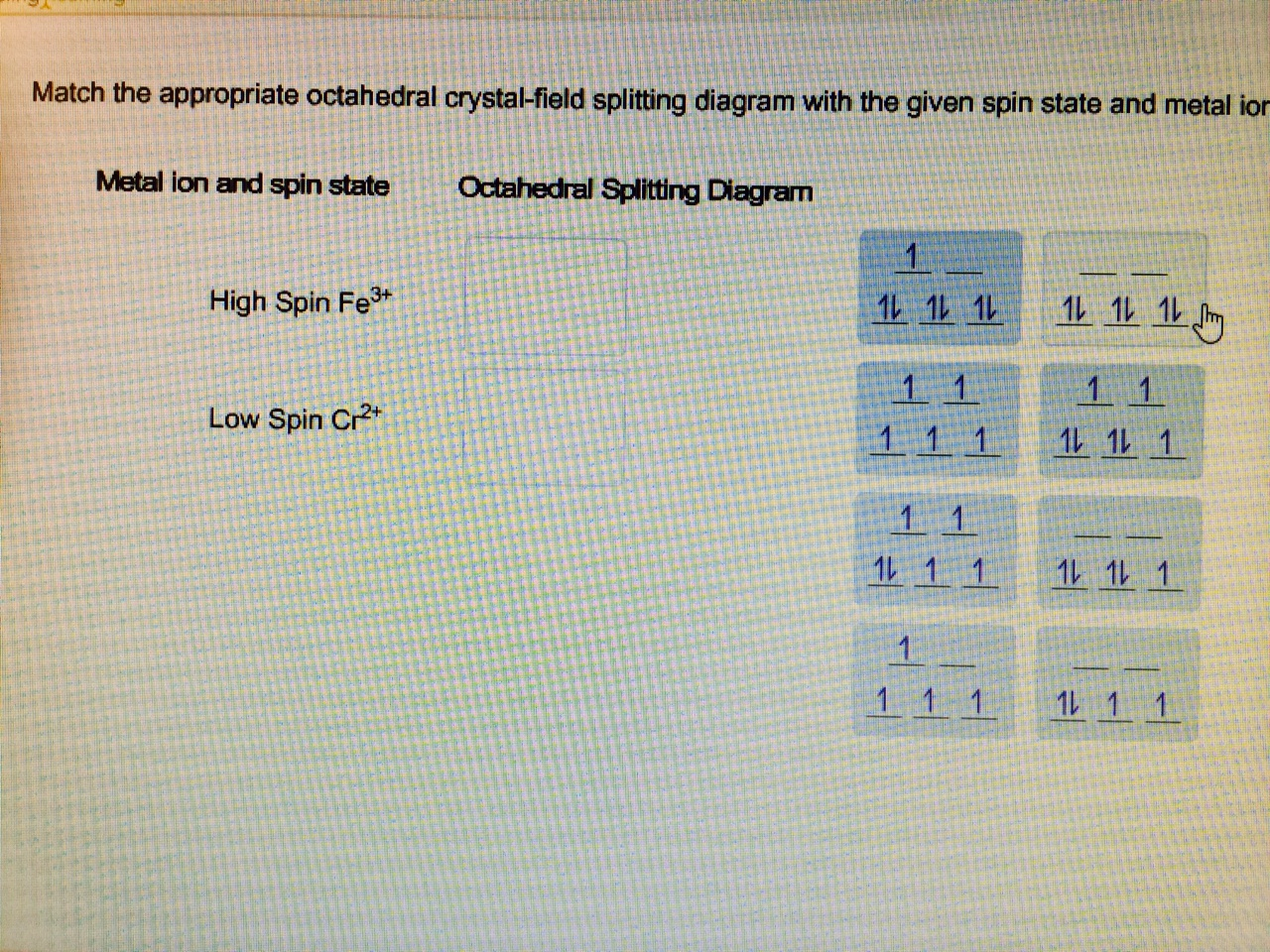Match The Appropriate Octahedral Crystal Field Splitting Diagram