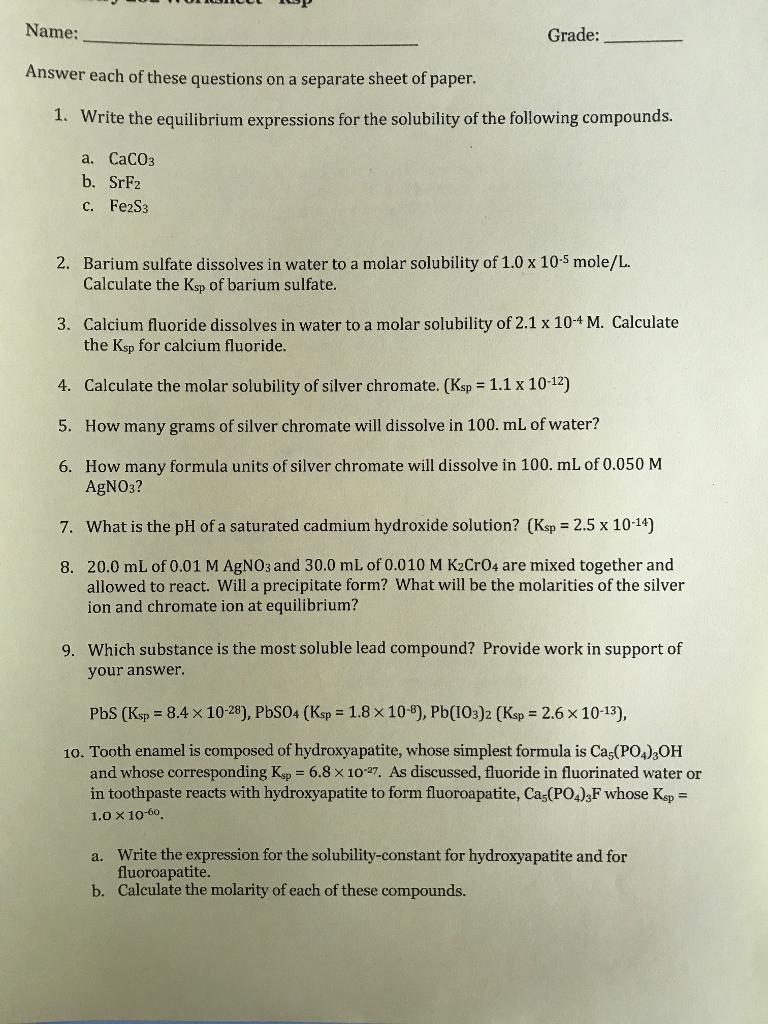Chemistry Unit 5 Worksheet 1 Answers