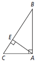 Which segment of the hypotenuse is adjacent to AB?