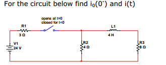 For the circuit below find i0(0') and i(t)