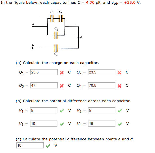 In the figure below, each capacitor has C = 4.70 m