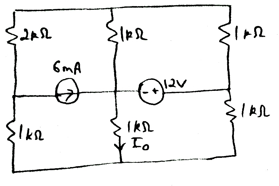Image for Find the thevenin equivalent of the circuit across 1k Ohm resistor
