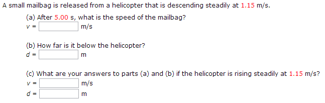 A small mailbag is released from a helicopter that