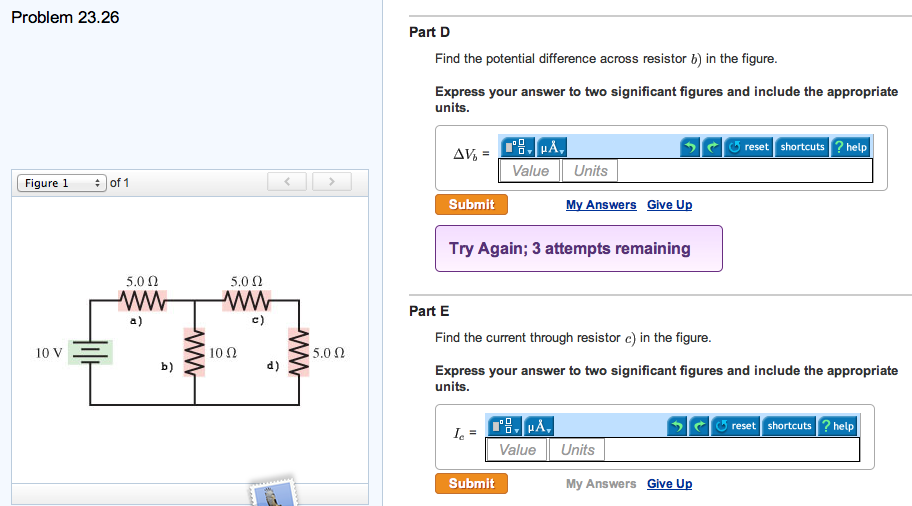 Find the potential difference across resistor b) i