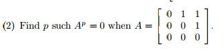 Find p such Ap = 0 when A =