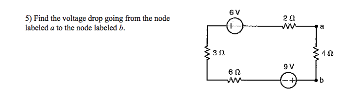 Find the voltage drop going from the node labeled