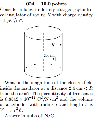 Consider a long, uniformly charged, cylindrical in