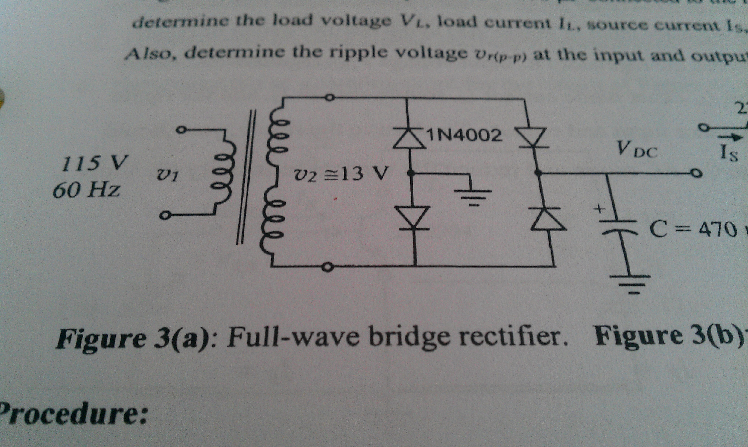Determine the no load DC output voltage for the fu