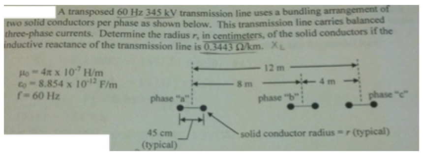 A transposed 60 Hz 345 kV transmission line use a
