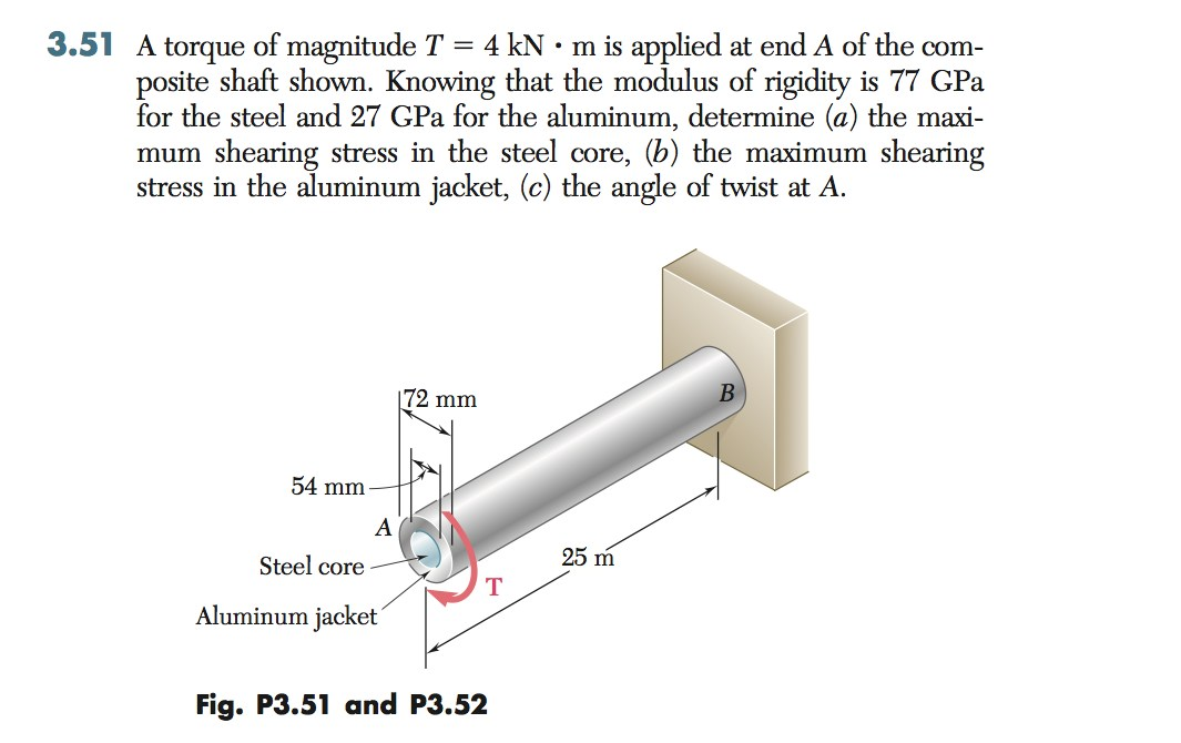 A torque of magnitude T = 4 kN m is applied at en