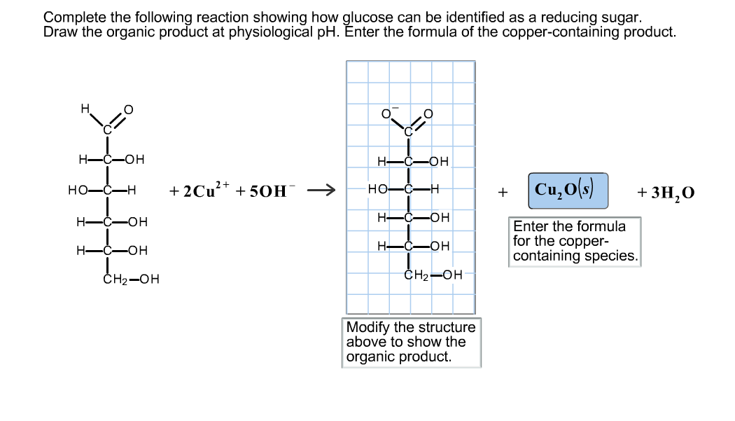 Complete the following reaction showing how glucos