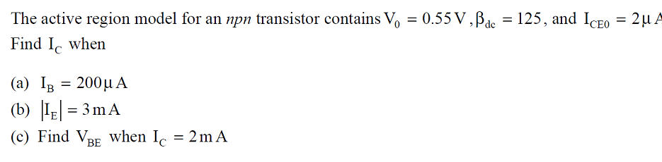 The active region model for an npn transistor cont