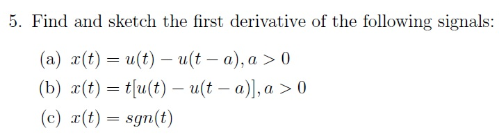 Find and sketch the first derivative of the follow
