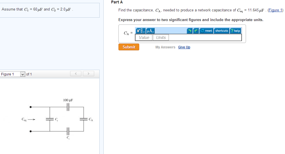 Find the capacitance. CA needed to produce a netwo