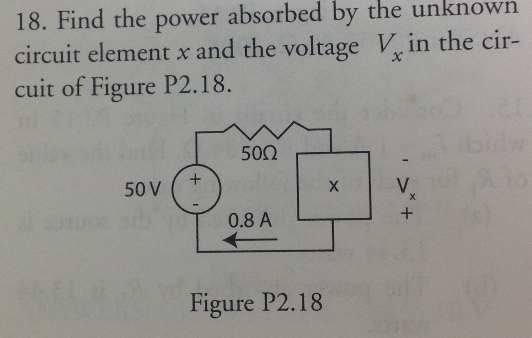 Find the power absorbed by the unknown circuit ele