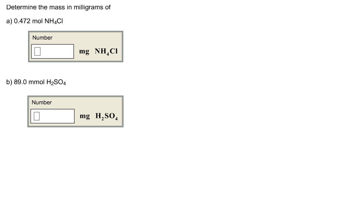 Determine the mass in milligrams of 0.472 mol NH4