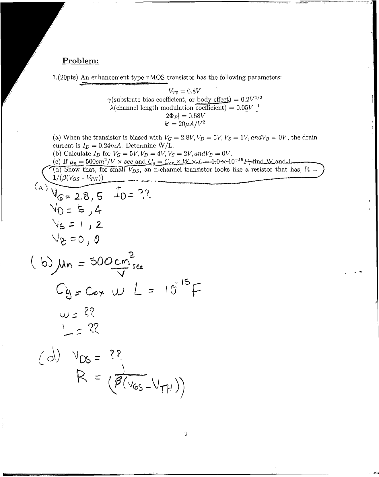 I only need help in Problem number 1, part d. Anyt