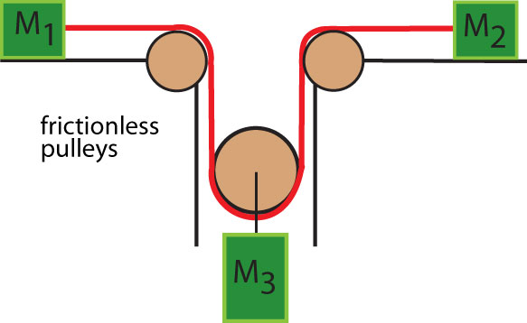 The figure shows a system of masses and pulleys. A