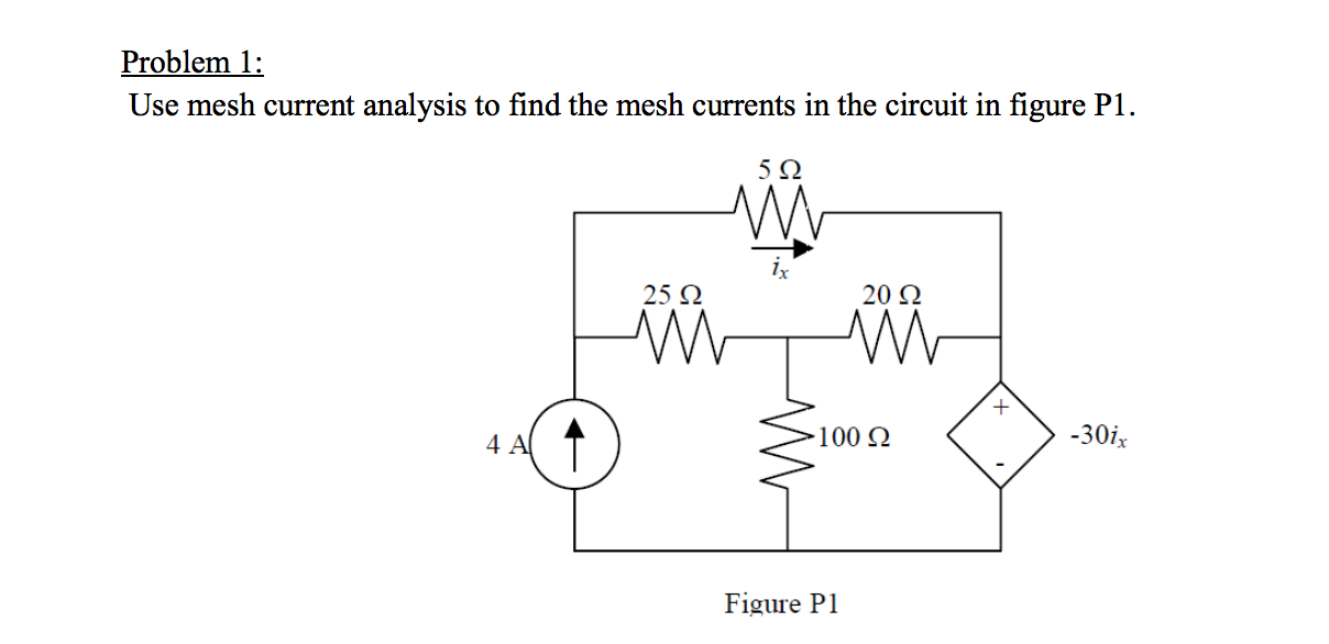 Use mesh current analysis to find the mesh current
