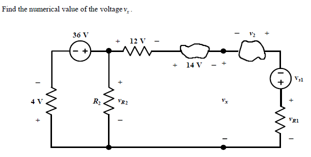 Find the numerical value of the voltage vx.
