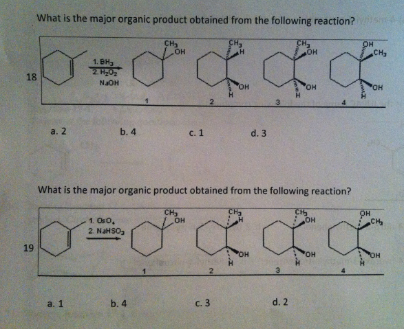What is the major organic product obtained from th