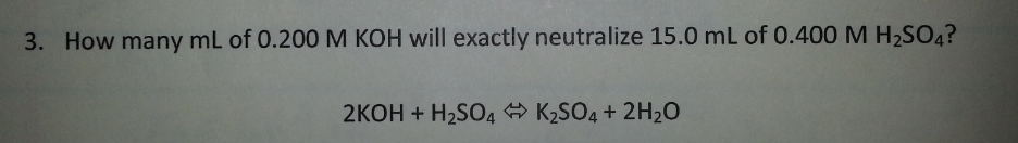 How many mL of 0.200 M KOH will exactly neutralize