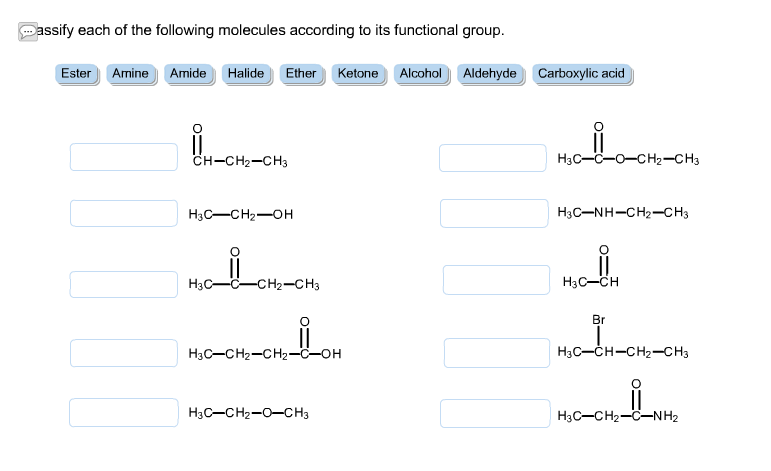 assify each of the following molecules according t