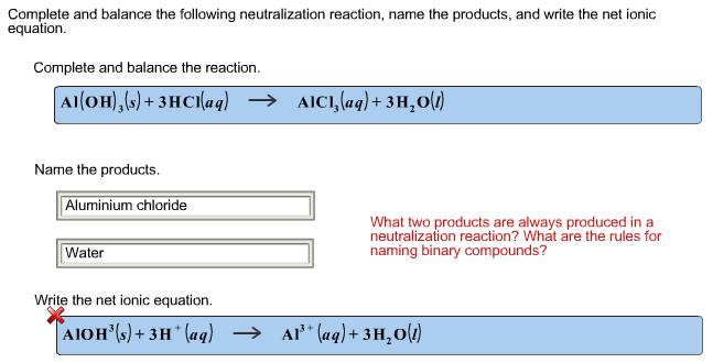 how to write neutralization reactions