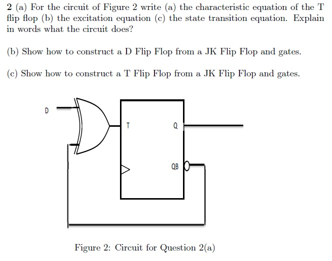 For the circuit of Figure 2 write (a) the characte