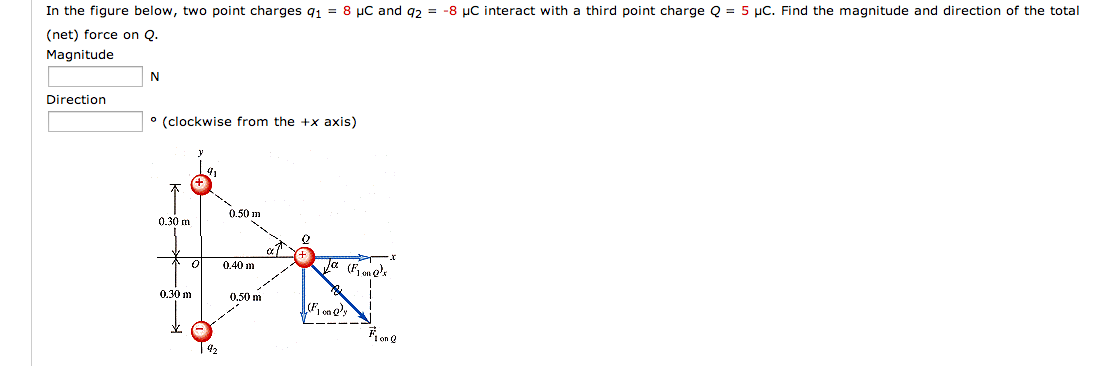 In the figure below, two point charges q1 = 8 mu C