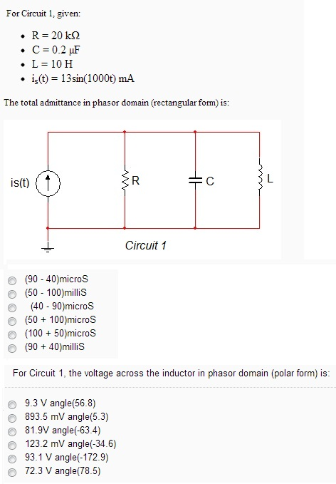 For Circuit 1. given: R = 20k Ohm C = 0.2 mu F L