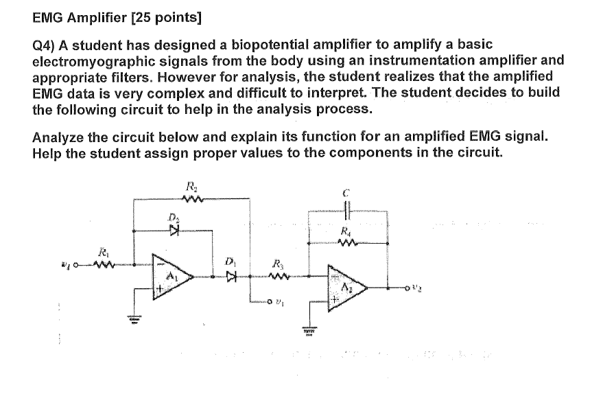 A Student has designed a biopotential amplifier to