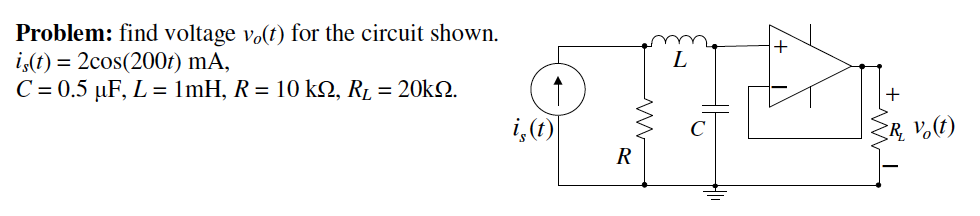 find voltage v0(t) for the circuit shown. is(t) =